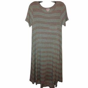 LuLaRoe Soft Comfy Gray Striped Maxi Dress XXS